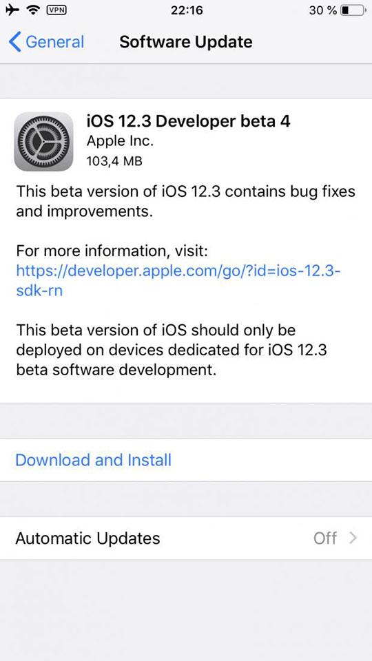 Apple phát hành iOS 12.3 beta 4 cho các nhà phát triển, tiếp tục sửa các lỗi còn tồn đọng - Hình 1