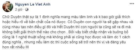 Việt Anh tâm sự chuyện hết duyên và buông bỏ sau khi được cho là làm lành với vợ chưa lâu - Hình 1