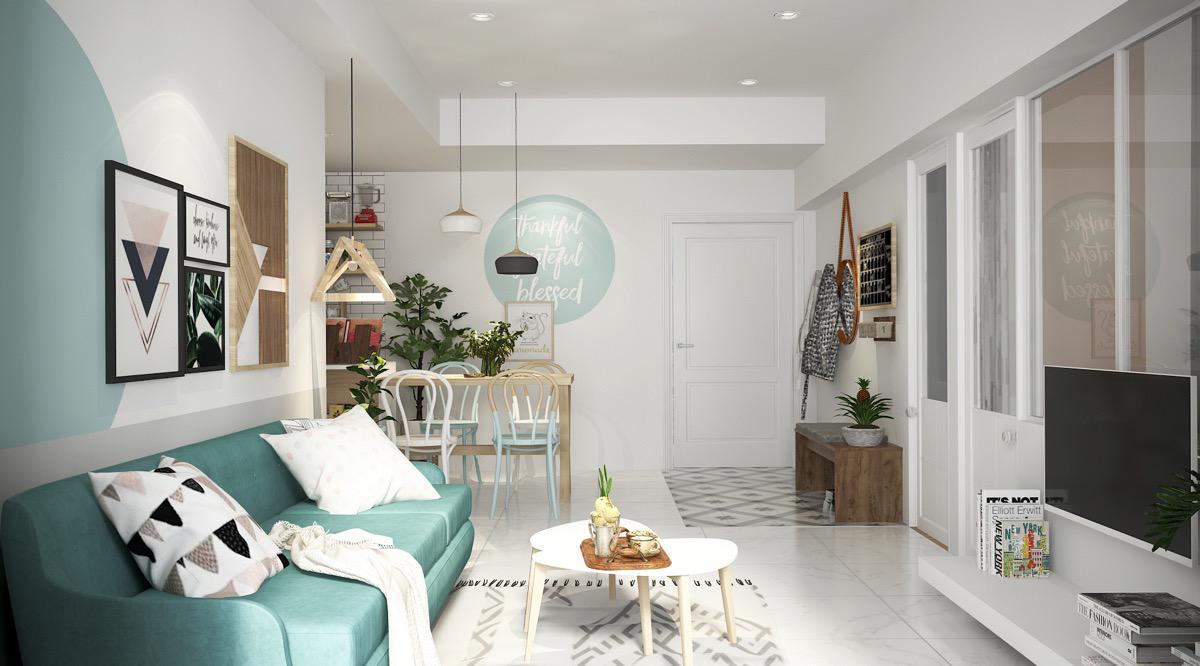 Xua tan nắng nóng với nội thất màu xanh ngọc - Hình 2