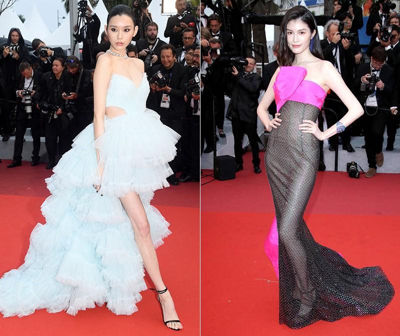 2 thái cực của 2 chân dài Victorias Secret Trung Quốc tại Cannes: Ming Xi như công chúa, Sui He phô phang đến bức người - Hình 1