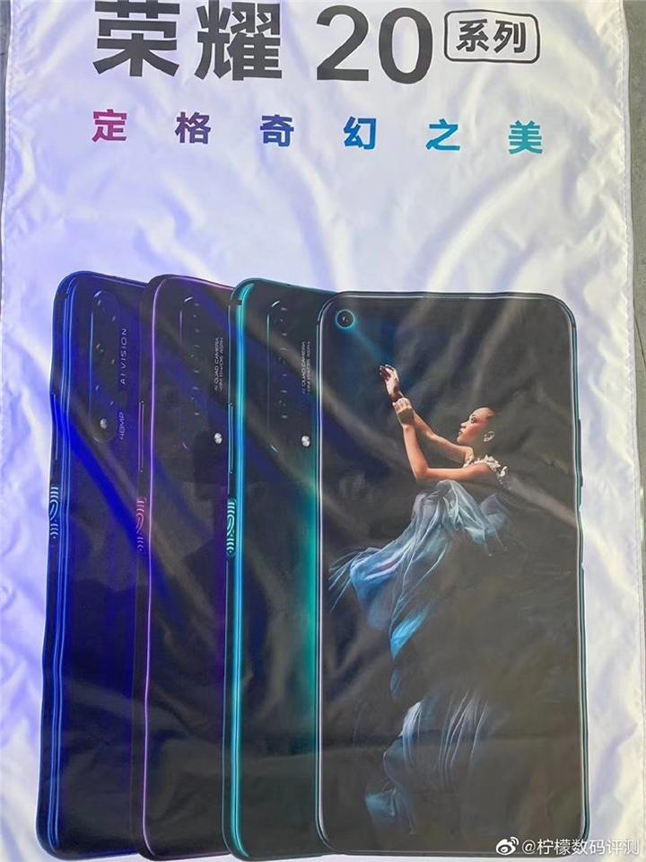Honor 20 lộ poster quảng cáo, xác nhận có màn hình đục lỗ, cảm biến vân tay ở cạnh bên - Hình 1