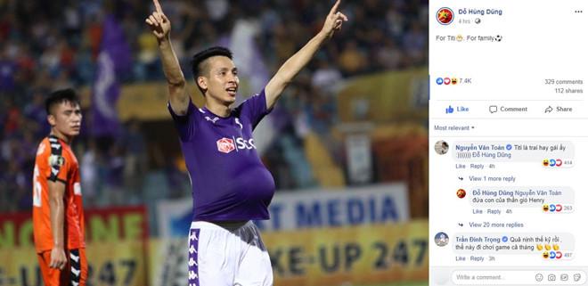 Đỗ Hùng Dũng khoe tin vui sau bàn thắng cho CLB Hà Nội - Hình 1