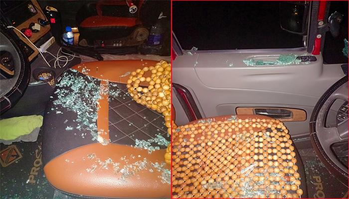 Hàng loạt xe đầu kéo bị bắn vỡ kính qua Phú Thọ, tài xế đội mũ bảo hiểm đề phòng vỡ đầu - Hình 1