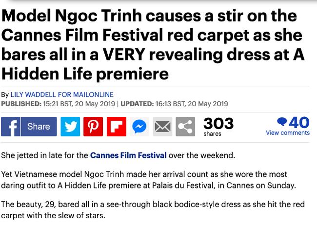 Báo Anh soi cận cảnh màn xuất hiện của Ngọc Trinh trên thảm đỏ Cannes, sốc hơn khi đọc bình luận từ dân mạng quốc tế - Hình 1