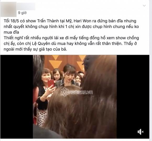 Từ chối chụp ảnh cùng khán giả lớn tuổi khi đang bán đĩa, Hari Won bị chỉ trích giả tạo, chảnh choẹ - Hình 1