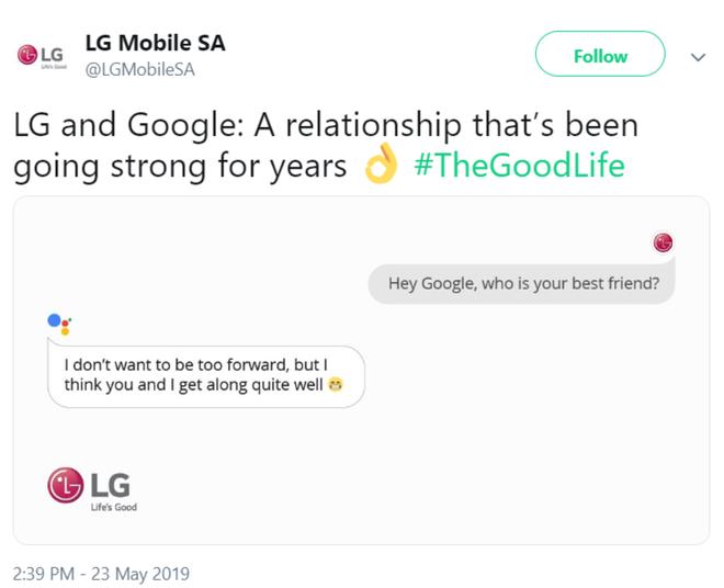 Giữa lúc Huawei gặp khó khăn, LG đăng tweet khoe tình bạn thắm thiết với Google - Hình 1