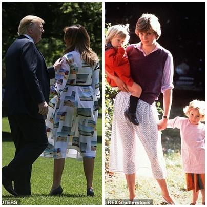 Khoảnh khắc váy của bà Trump bị thổi bay trong gió khiến báo Anh liên tưởng tới bức ảnh nổi tiếng chụp Công nương Diana - Hình 2