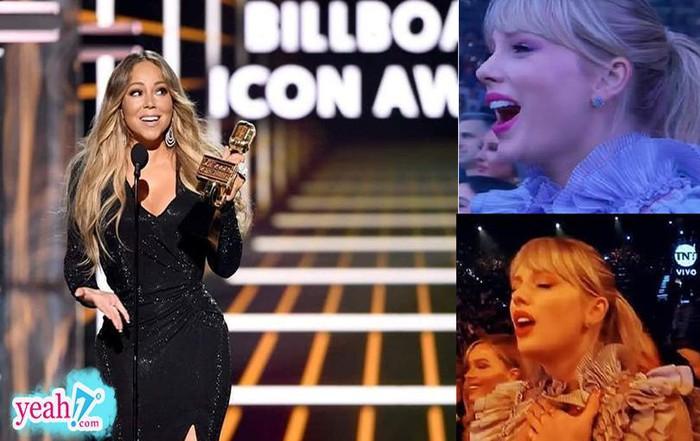 Loạt biểu cảm fangirl thần thánh của Taylor Swift tại BBMAs 2019 khi thần tượng Mariah Carey lên nhận giải - Hình 1