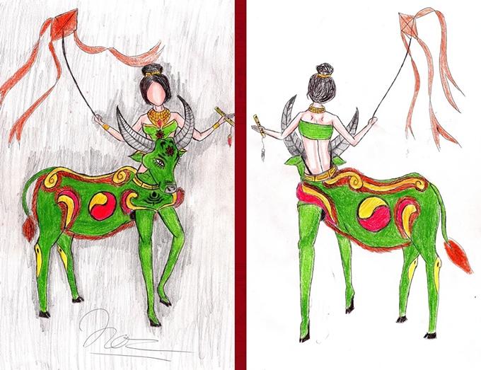 Heo quay, mì Quảng thành ý tưởng trang phục dân tộc cho Hoàng Thùy - Hình 2