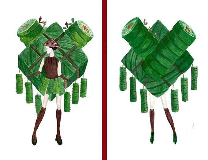 Heo quay, mì Quảng thành ý tưởng trang phục dân tộc cho Hoàng Thùy - Hình 5