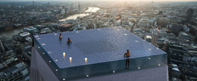 Kinh ngạc bể bơi trên nóc nhà 55 tầng, muốn lên phải đi tàu ngầm - Hình 1