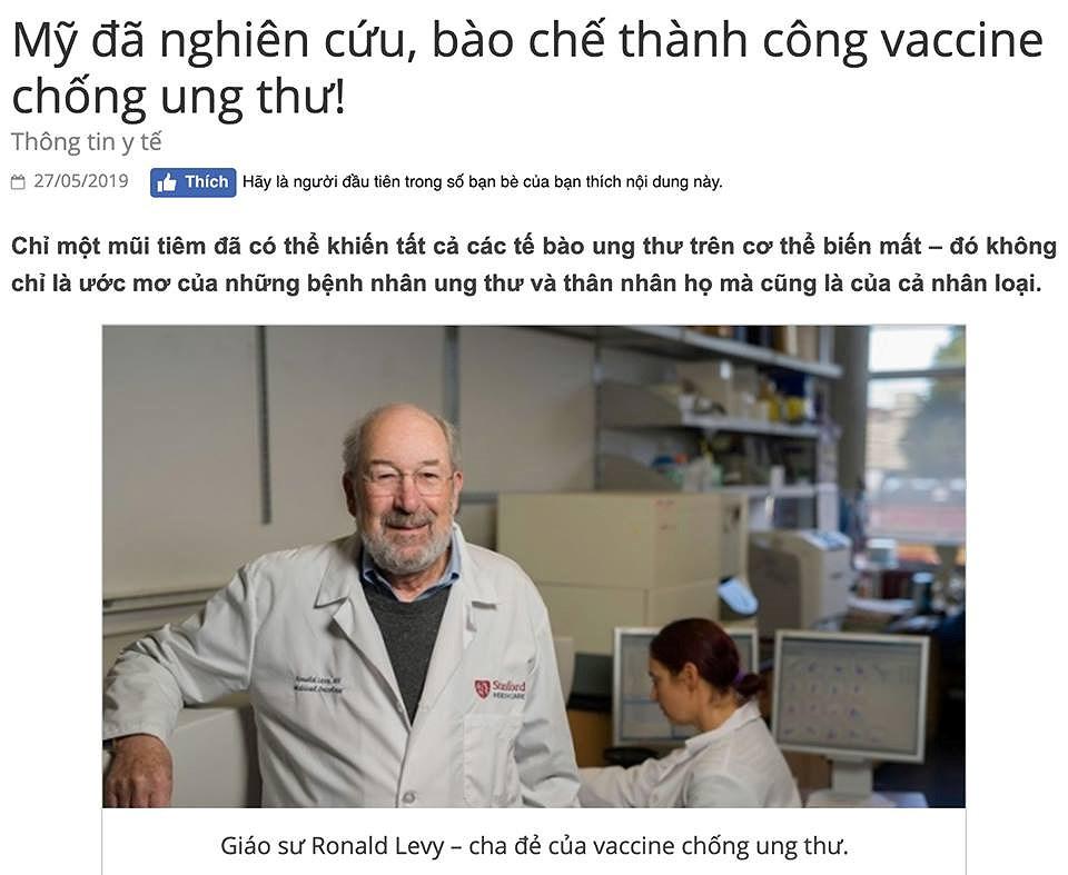 Sự thật về thông tin Mỹ đã nghiên cứu, bào chế thành công vaccine chống ung thư - Hình 1