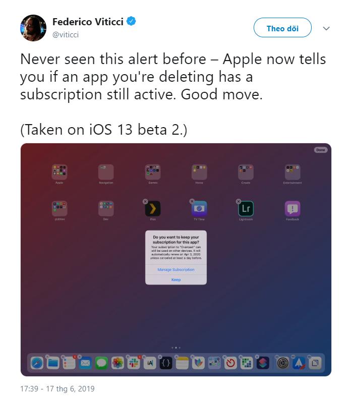 iOS 13 cho phép người dùng hủy đăng ký dịch vụ sau khi xóa ứng dụng - Hình 1