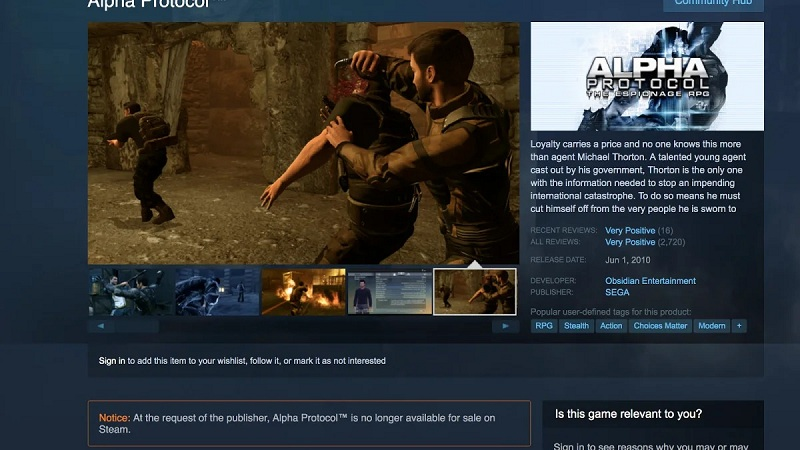 Huyền thoại một thời Alpha Protocol chính thức biến mất mãi mãi khỏi Steam - Hình 1