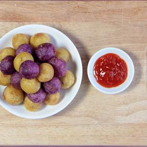 Bánh khoai lang tím bọc phô mai chiên - Hình 9