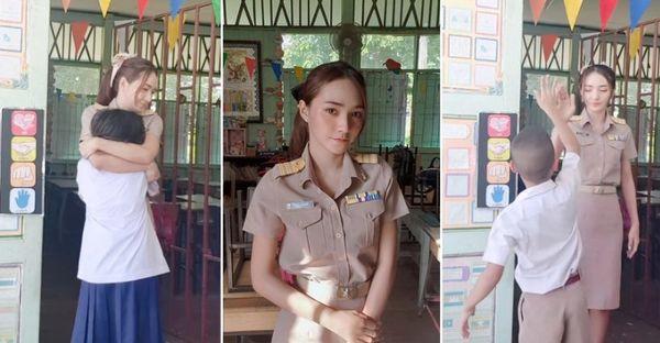 Ôm, high-five học sinh mỗi sáng, nữ giáo viên xinh đẹp gây sốt MHX - Hình 1