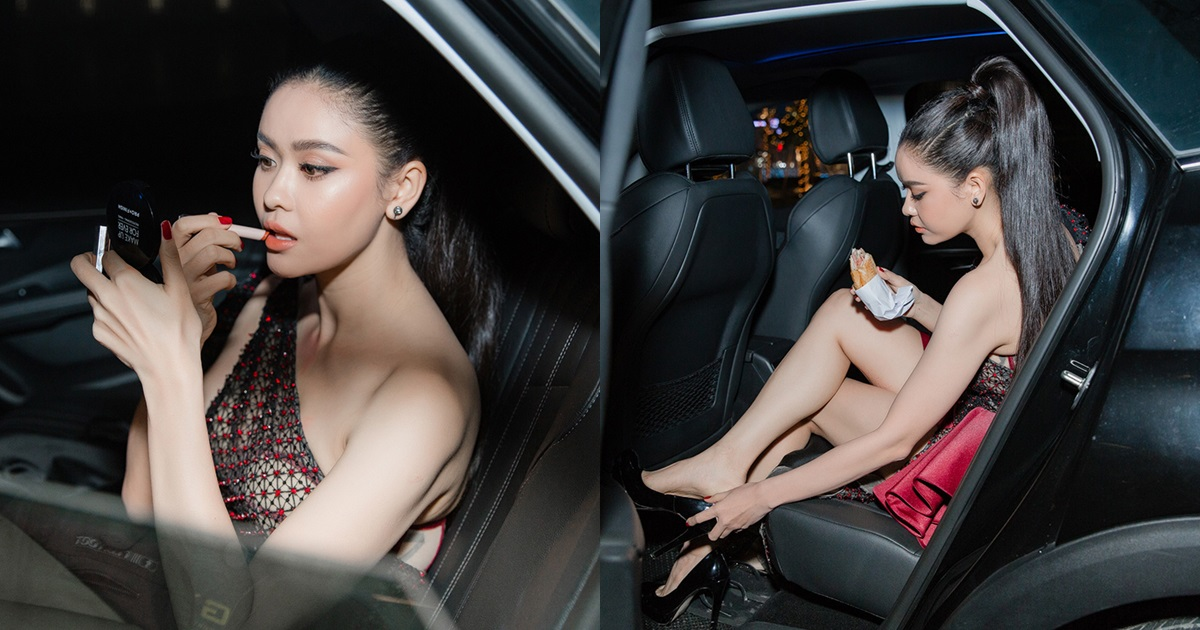 Bắt gặp Trương Quỳnh Anh mặc đầm xuyên thấu ngồi trên ô tô gặm bánh mì, tự trang điểm - Hình 5