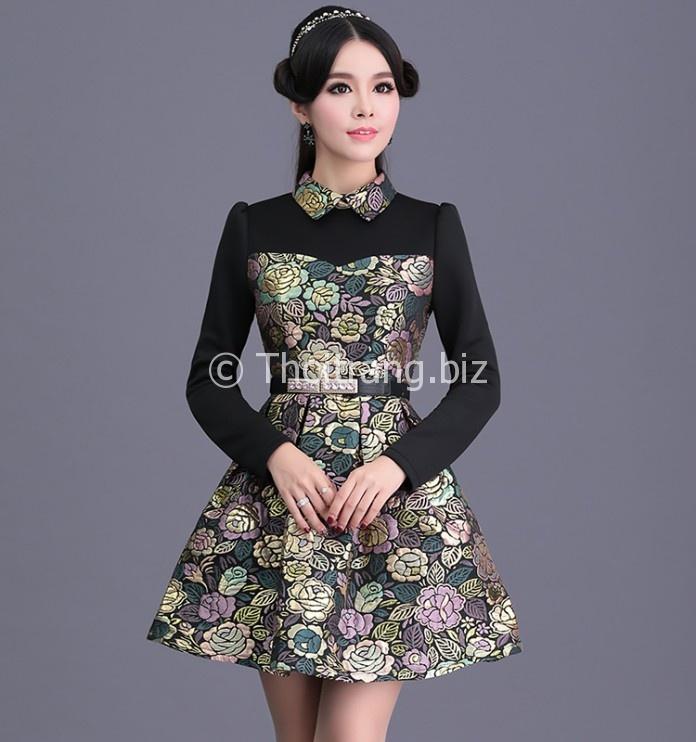 Kiểu váy liền thân dáng xòe nàng công sở thêm xinh - Hình 3