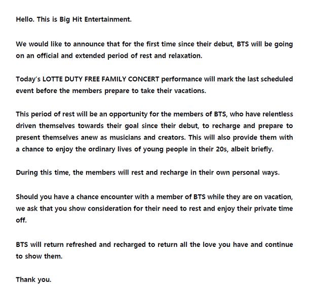 Bất ngờ thông báo nghỉ xả hơi, BTS liệu có vắng mặt loạt lễ trao giải cuối năm nay? - Hình 2
