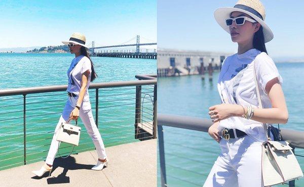 Không còn váy áo đính kết lụa là, Phạm Hương đơn giản năng động với quần jean và áo sơmi - Hình 8