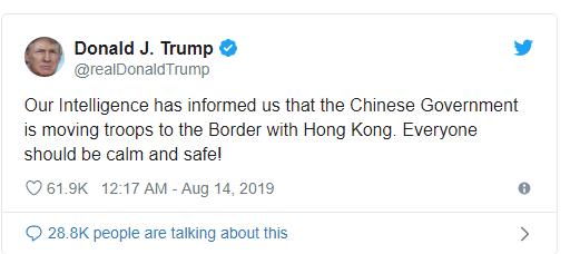 Tổng thống Trump nói Trung Quốc điều quân tới sát nách Hong Kong - Hình 1