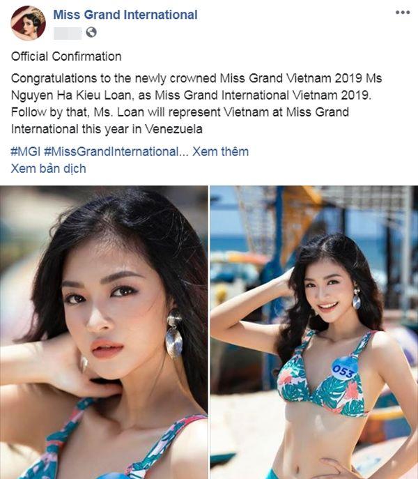 Miss Grand International xác nhận Kiều Loan đại diện Việt Nam: Fan quốc tế chúc mừng, khen ngợi - Hình 1