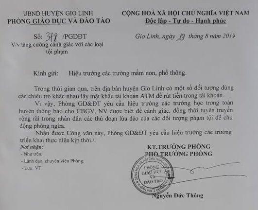 Giáo viên ở Quảng Trị bị đối tượng lạ doạ đuổi việc, lừa tài sản? - Hình 3
