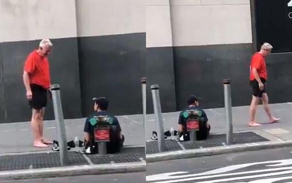 Khoảnh khắc ấm áp: Đang chạy bộ trên đường, ông lão tháo cả giày và tất tặng người vô gia cư - Hình 1