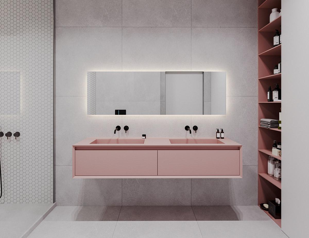 Căn hộ sử dụng màu trắng, xanh lá và hồng để trang trí - Hình 10