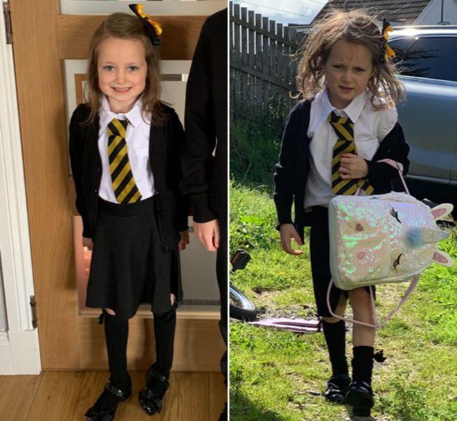 Trở về nhà sau buổi học đầu tiên với bộ dạng tã tượi thê thảm, cô bé 5 tuổi khiến dân mạng bật cười nhớ lại tuổi thơ - Hình 1
