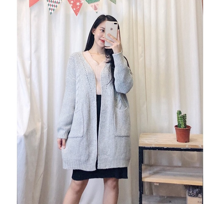 Áo khoác len dài không cổ vừa xinh vừa cá tính siêu hợp với mùa thu - Hình 3