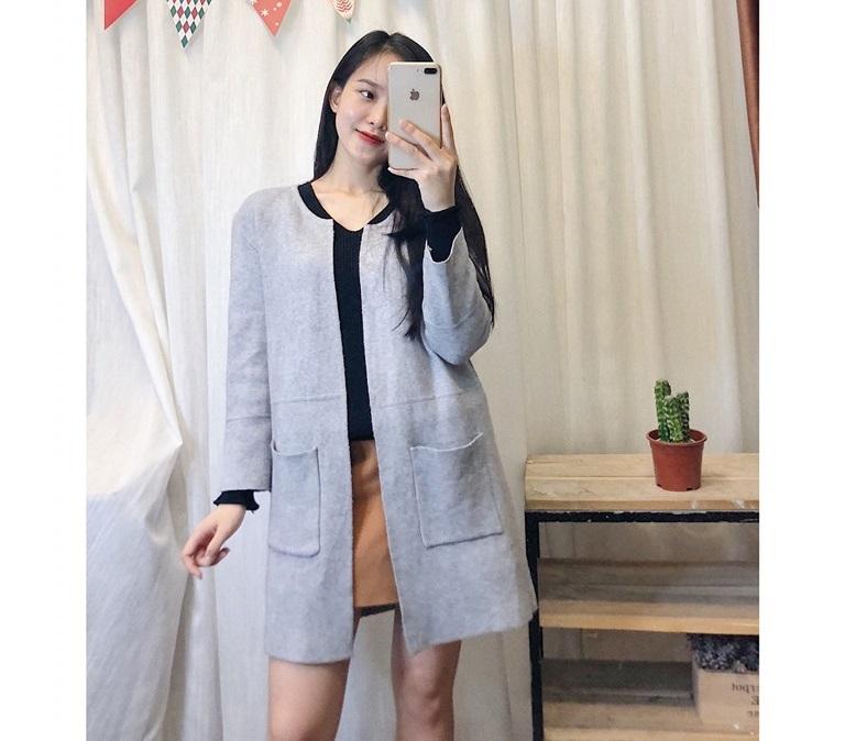 Áo khoác len dài không cổ vừa xinh vừa cá tính siêu hợp với mùa thu - Hình 1