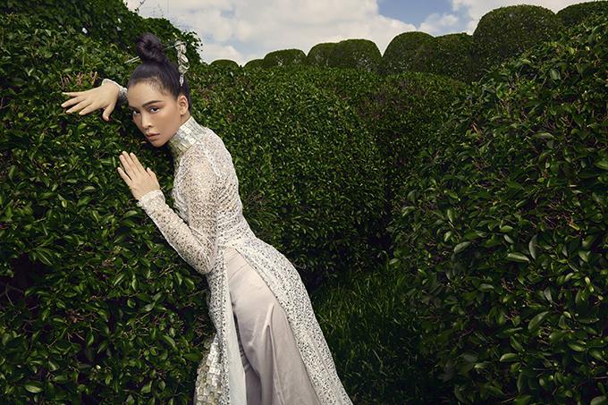 Mỹ Ngọc Bolero diện áo dài cách điệu - Hình 5