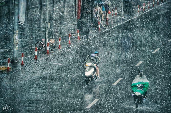 Quên cảnh tắc đường đi, dòng người hối hả dưới cơn mưa chiều tan tầm ở Hà Nội cũng thơ mộng lắm - Hình 17