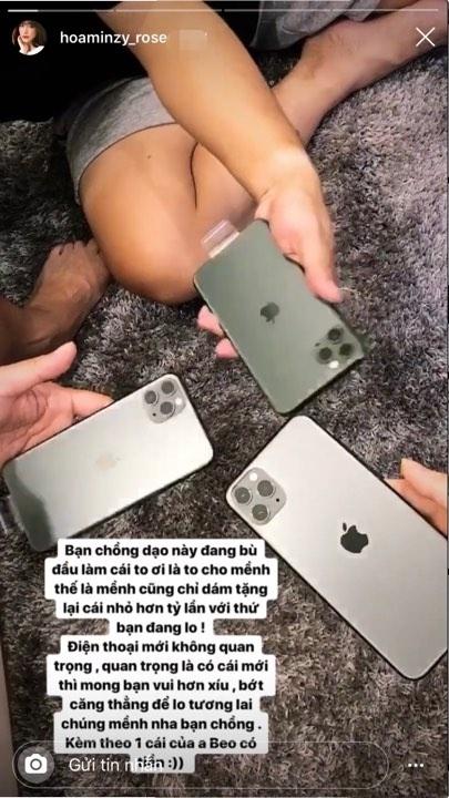 Bị chỉ trích ăn bám, Hòa Minzy mua iPhone 11 tặng chồng đại gia - Hình 1