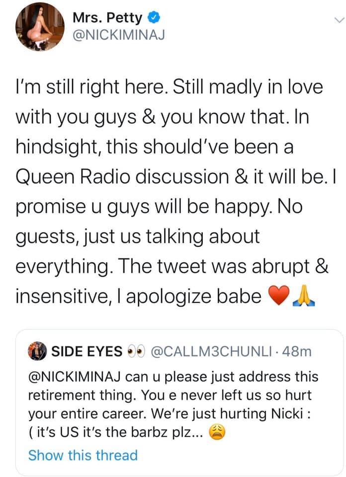 Nicki Minaj lên tiếng xin lỗi fan, khẳng định tuyên bố giải nghệ chỉ là... đường đột - Hình 2
