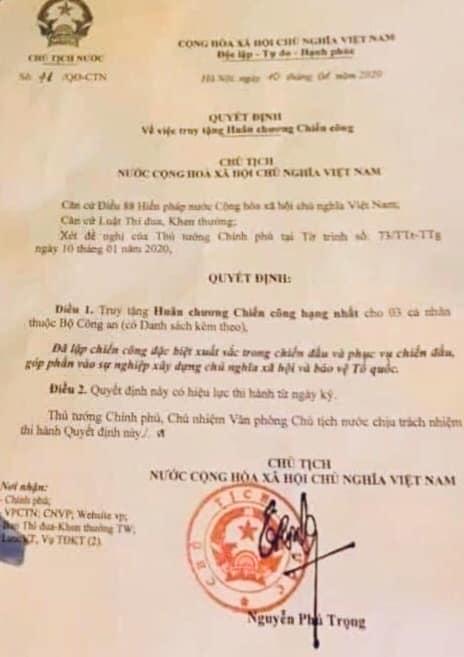 Truy tặng huân chương cho 3 cán bộ, chiến sĩ hy sinh ở Đồng Tâm - Hình 1