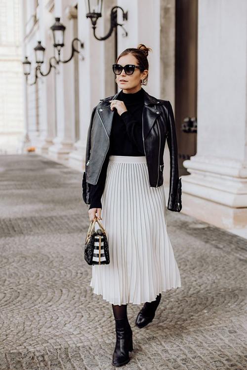 Phối các kiểu áo khoác với chân váy midi - Hình 10