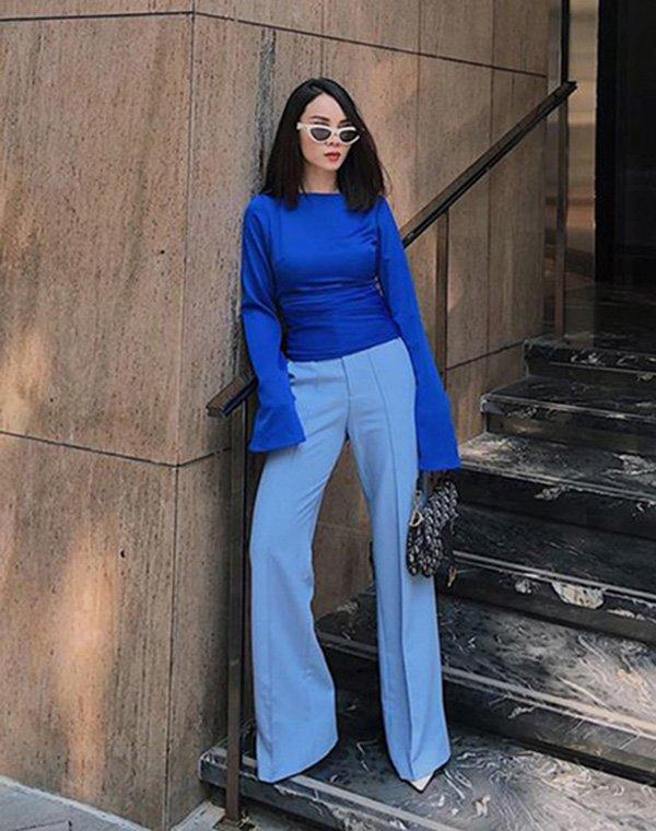 Nhàm chán với sắc đỏ ngày Tết, đừng ngại phá cách với trang phục tông xanh cổ điển hot trend - Hình 1