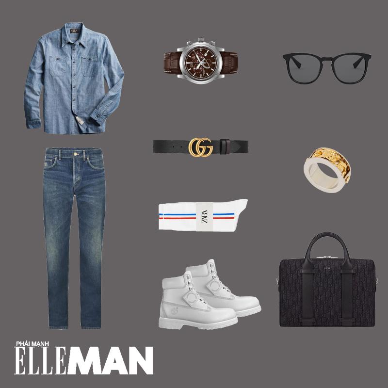ELLE Man Style Calendar: Đổi mới tủ đồ Xuân với áo sơ mi chambray - Hình 16
