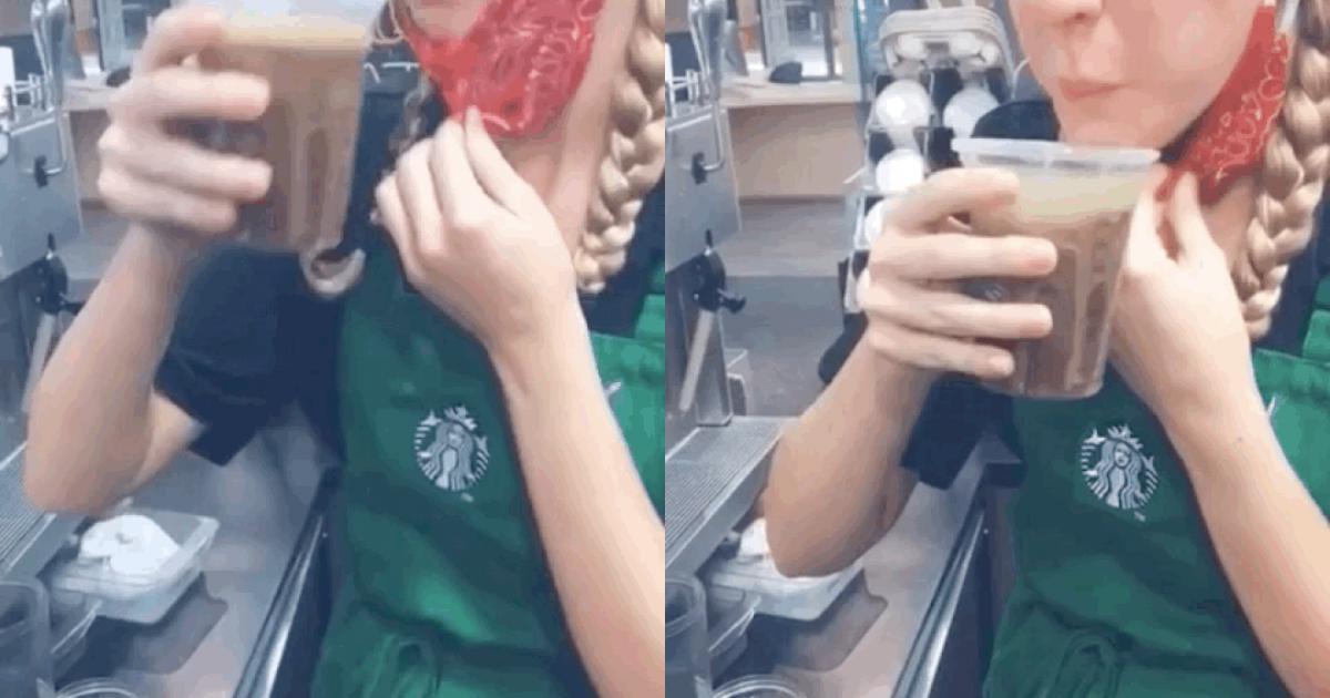 Hoang mang về clip nhân viên Starbucks nhổ lại đồ uống vào ly của khách sau khi nếm thử