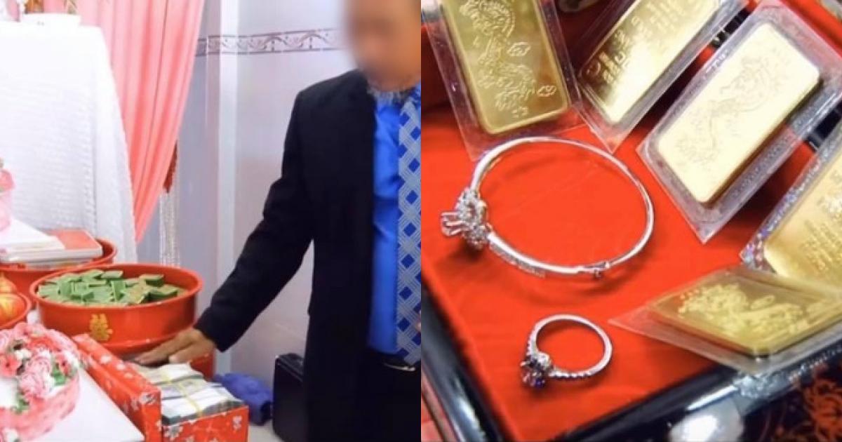 """Màn nạp tài khủng 1,8 tỷ tiền mặt của chú rể miền Tây, nhà cô dâu cũng """"đáp lễ"""" bằng số lượng vàng và kim cương chẳng kém cạnh"""