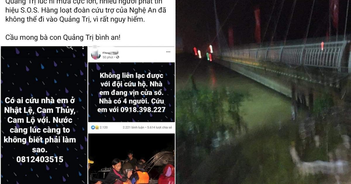 Nước lũ lên nhanh, nhiều người dân Quảng Trị lên mạng kêu cứu trong đêm