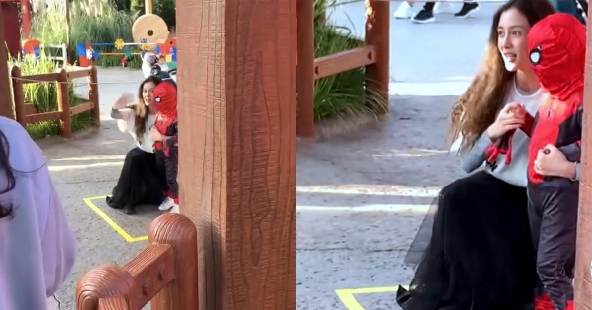 Angelababy lại lẻ bóng đưa con đi chơi, nhan sắc đời thường thế nào mà phải vội che mặt khi bị quay?