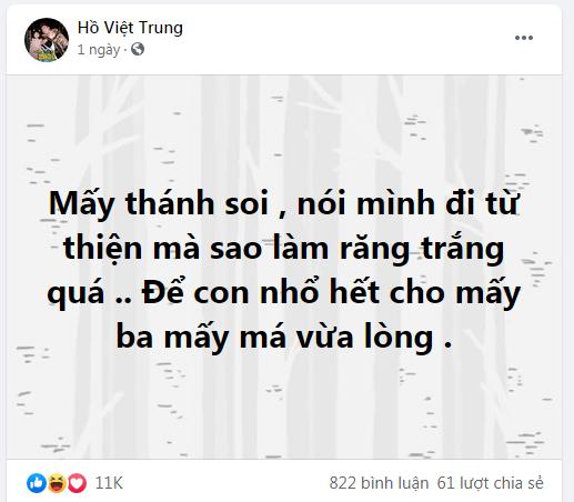 Đi từ thiện miền Trung bị soi làm răng sứ, Hồ Việt Trung tức giận: Để nhổ hết cho mấy ba, mấy má vừa lòng - Hình 1
