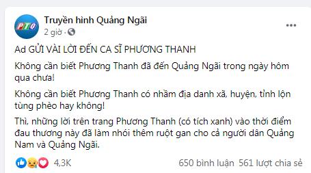 Truyền hình Quảng Ngãi chính thức lên tiếng sau phát ngôn của Phương Thanh: Những lời nói đã làm nhói thêm ruột gan cho người dân - Hình 2