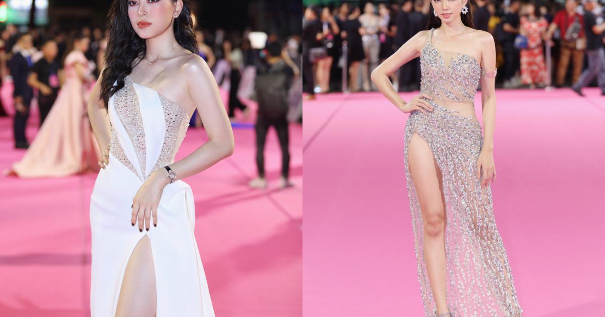 Tiểu Vy mặc váy xẻ cao trên thảm đỏ chung kết Hoa hậu Việt Nam