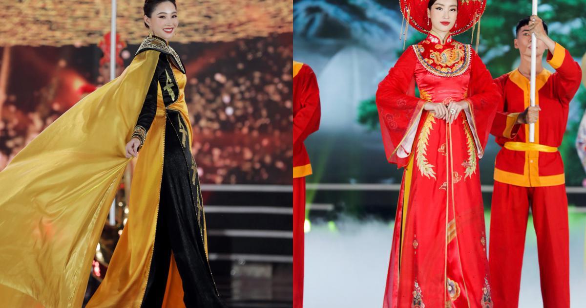 Đặng Thu Thảo trình diễn áo dài với 5 hoa hậu của thập kỷ tại chung kết HHVN 2020