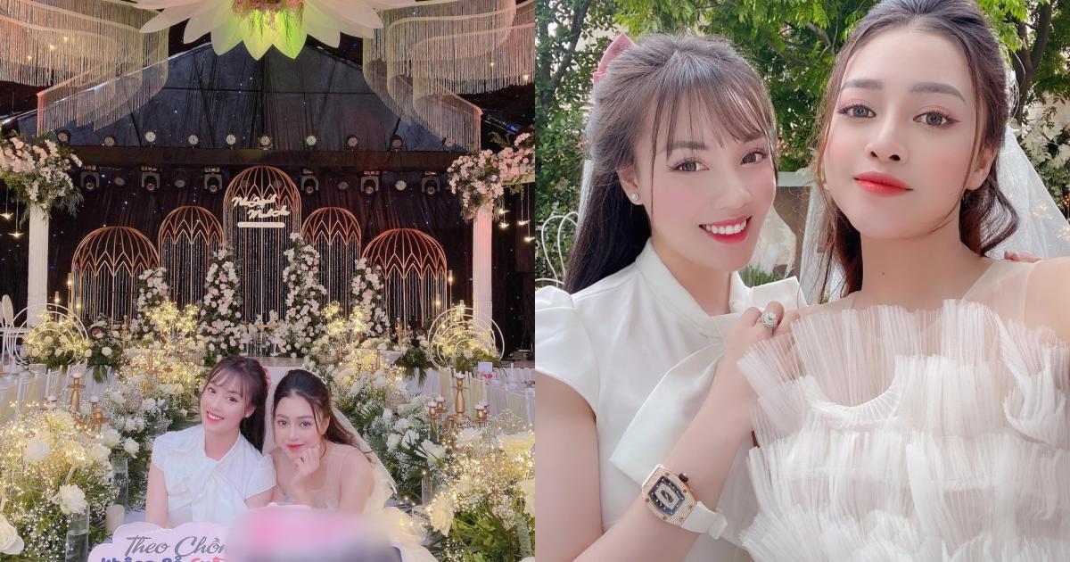 Đi đám cưới bạn thân, vợ cũ Trọng Hưng diện váy trắng lấn át cả cô dâu