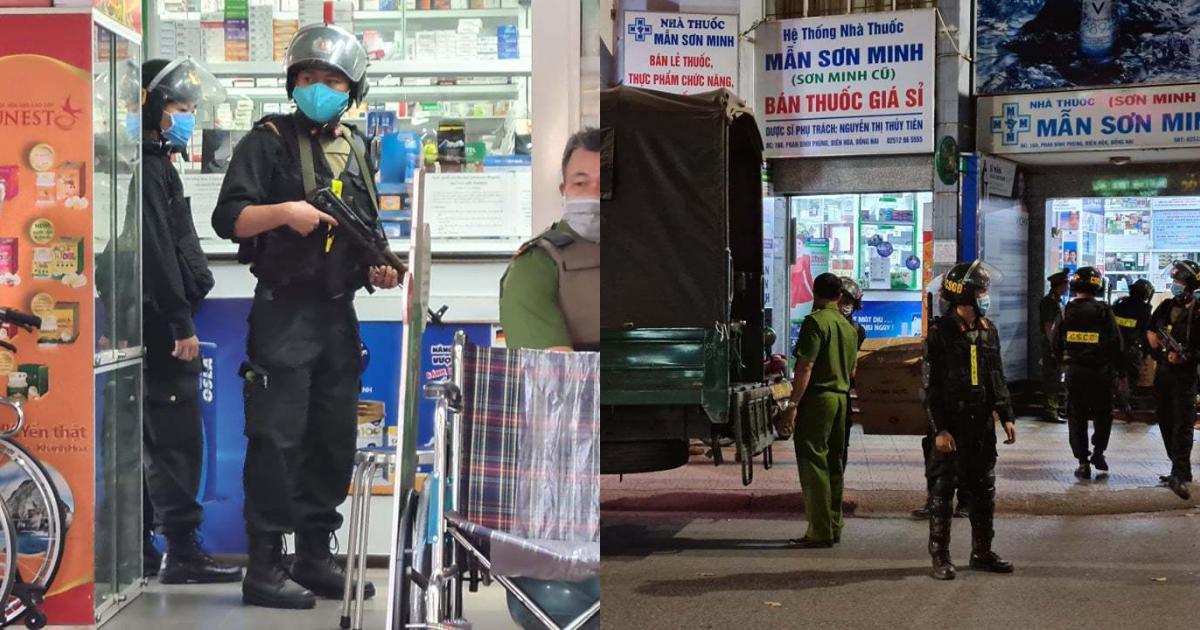 Cảnh sát bồng súng kiểm tra công ty, nhà thuốc tây lớn nhất Đồng Nai